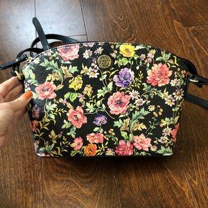 ANNE KLEIN Black Floral Crossbody Purse
